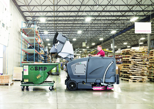 High dump feature on the CS7010 industrial floor sweeper