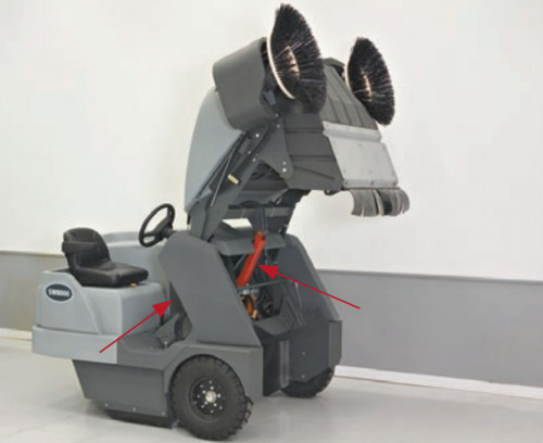 High dump feature on the SW8000 industrial floor sweeper