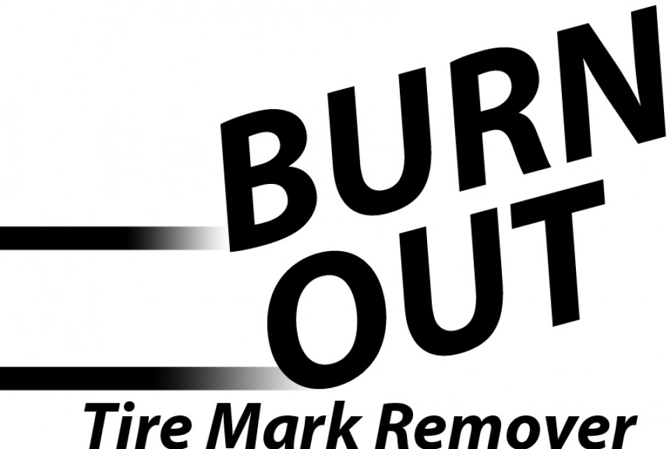 Burn out logo for tire mark remover