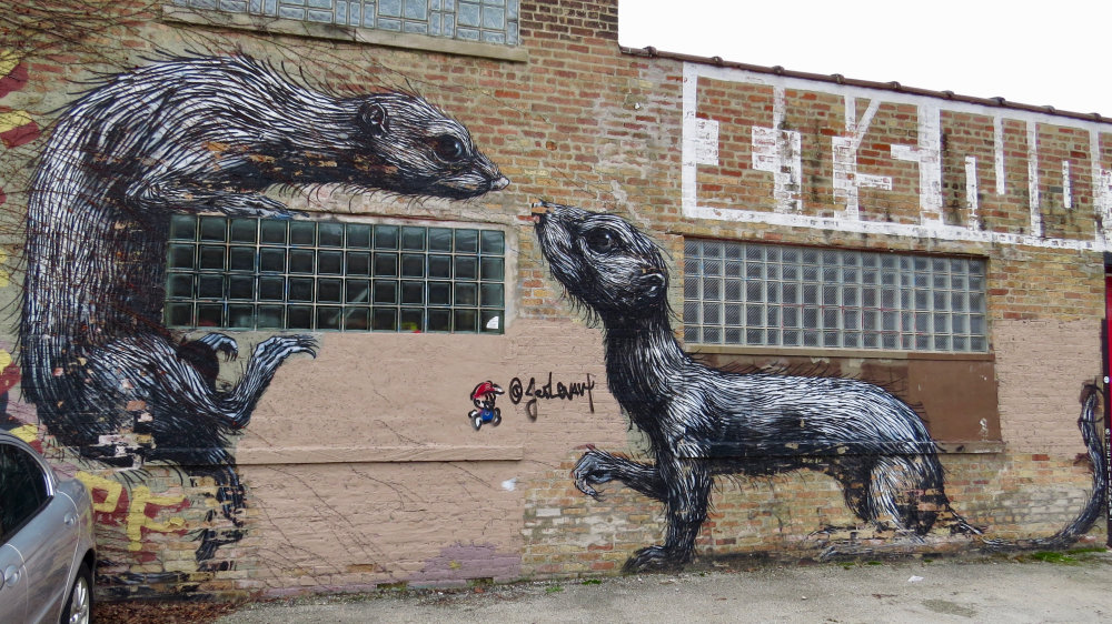 mural in Chicago by artist ROA
