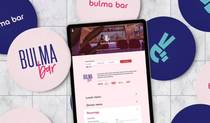 Hero bulmabar web design ipad restaurent site