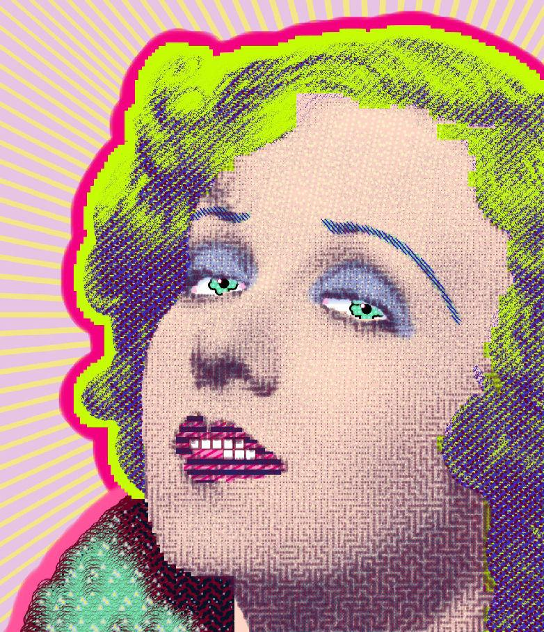 "painting by Matt Kane - ""Anita Page"" - detail 1"