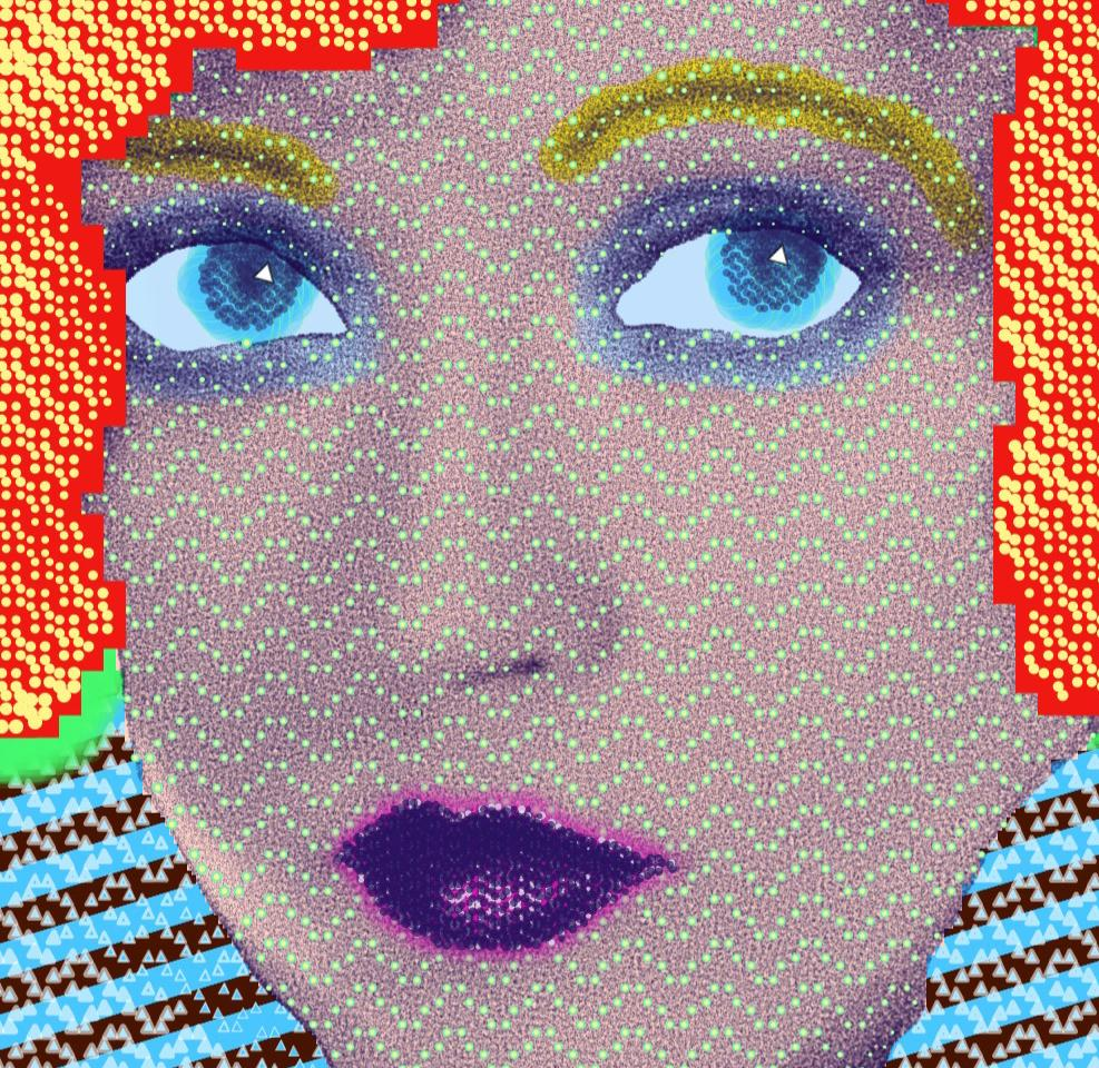 "painting by Matt Kane - ""Marion Davies"" - detail 1"