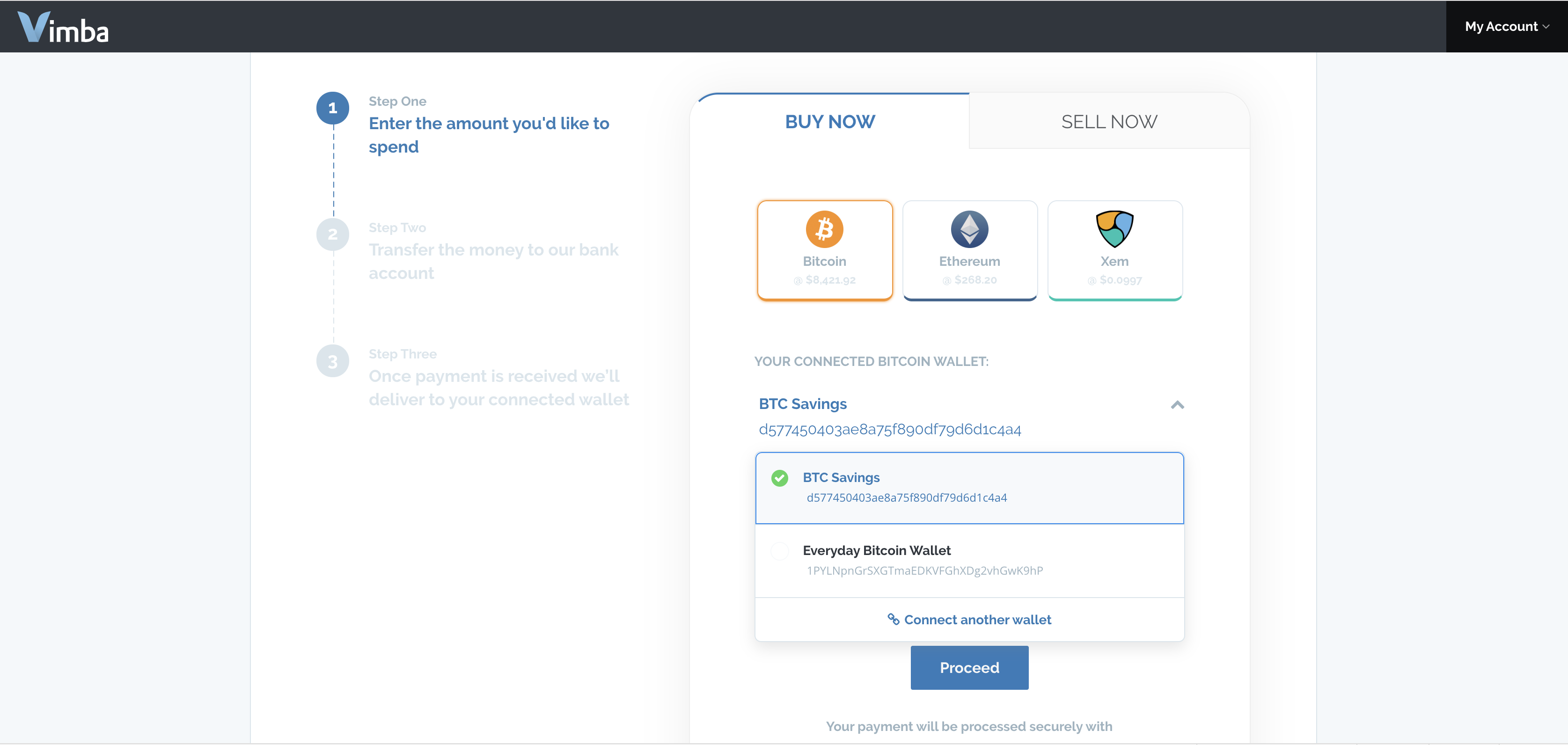 Screenshot of Buy and Sell with dropdown