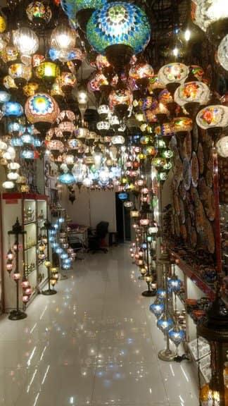 bur dubai lanterns hanging in lantern store