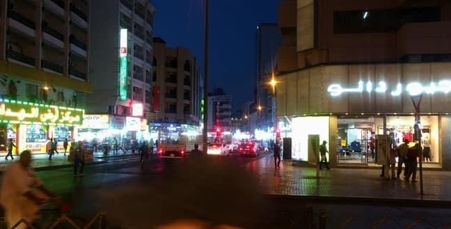 nighttime view of area near baniyas square