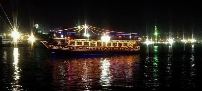 dubai dhow cruise lit at night