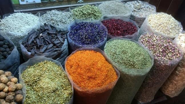 bags of spice in spice souq dubai