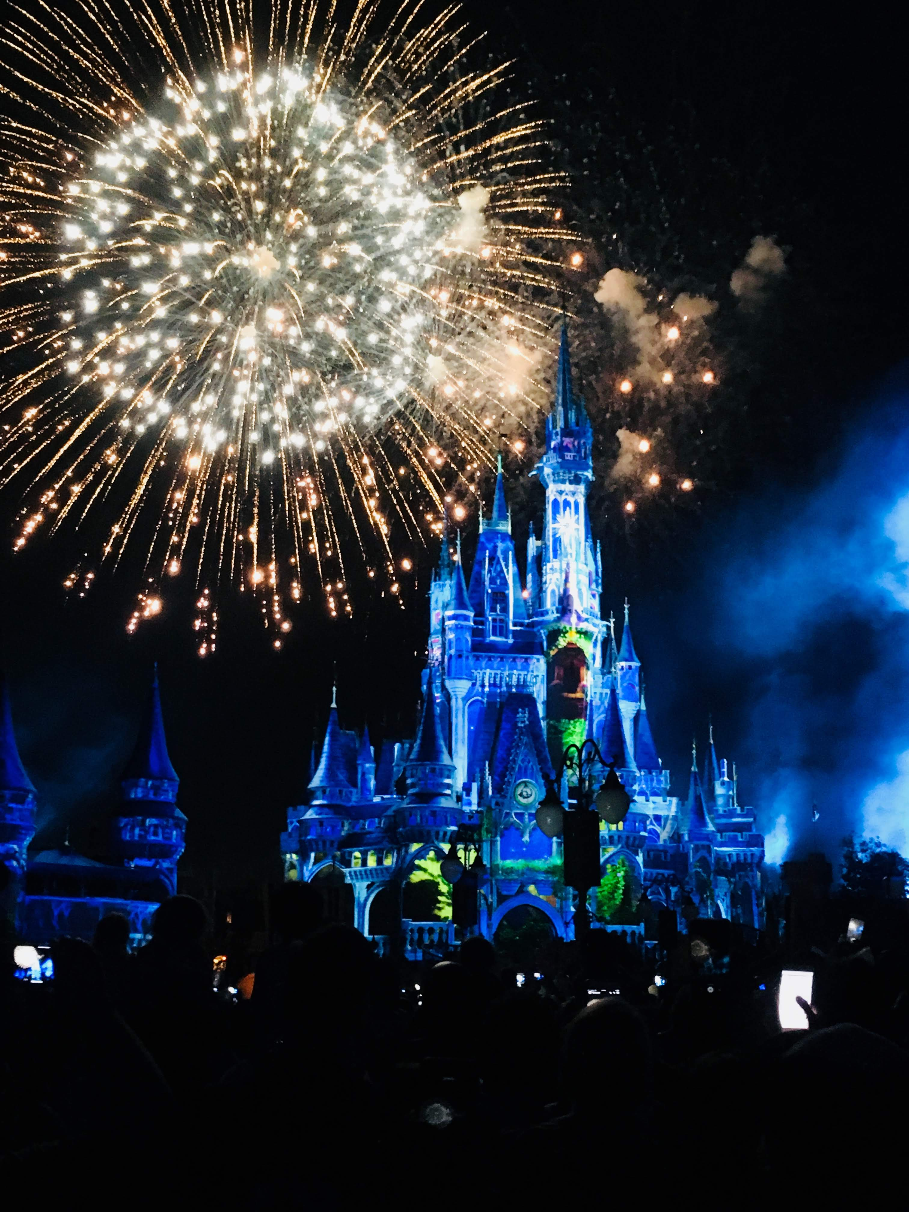 fireworks at the Cinderella Castle at Magic Kingdom