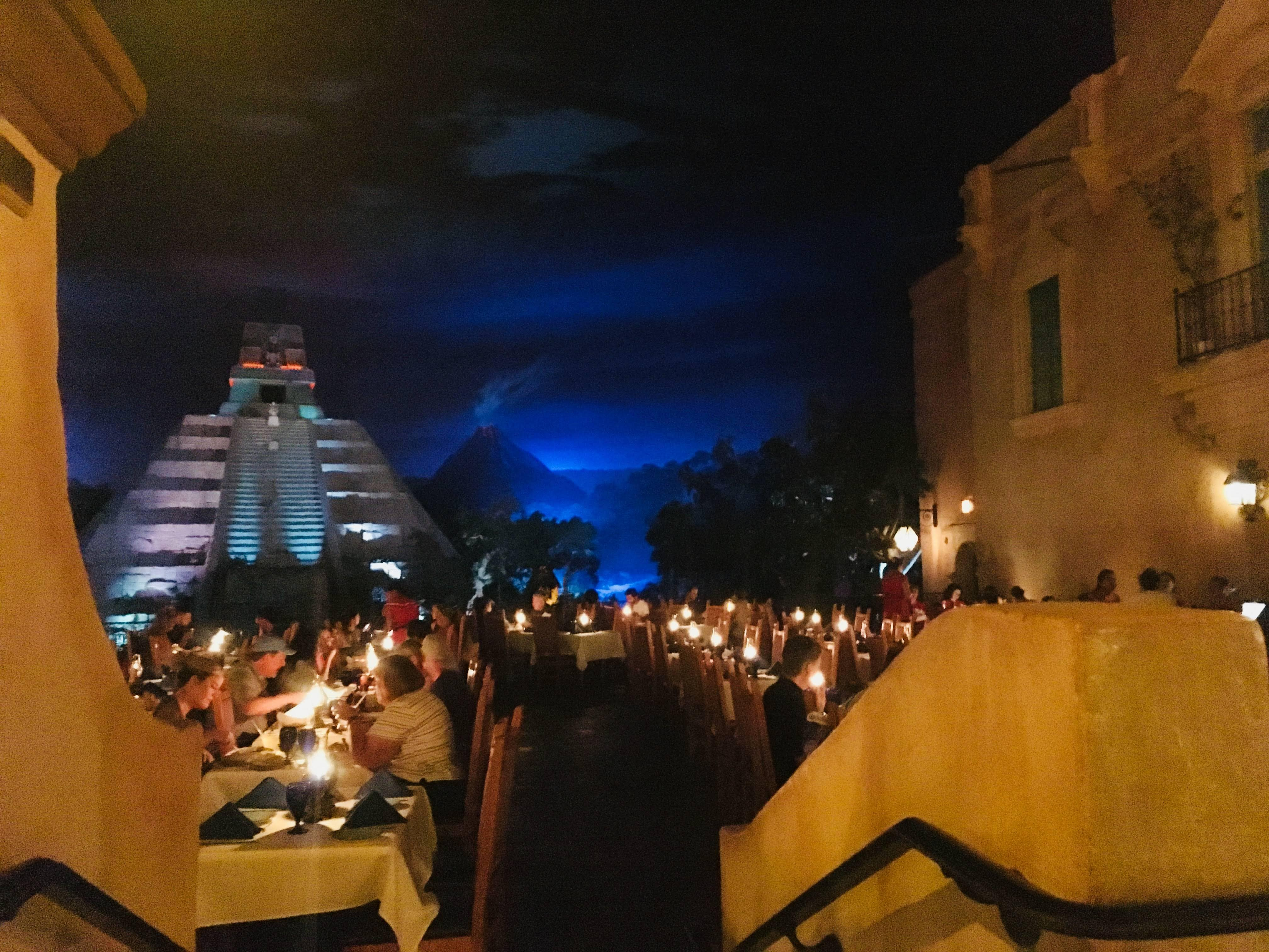 the moonlit, outdoors theme of restaurant san angel in the Mexican Pavillon, Epcot