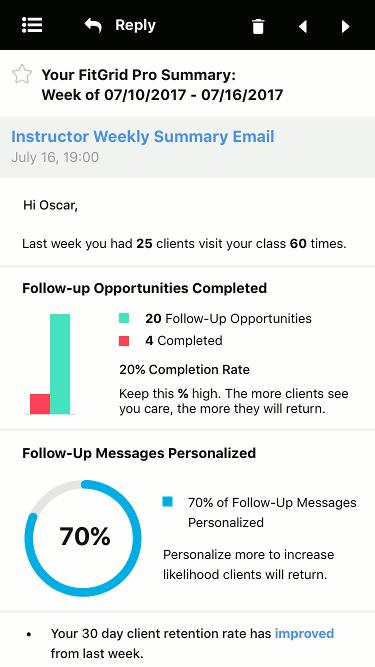 Screenshot of updates email