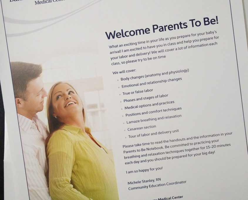 parents, first time, birth class, banner, welcome, info sheet