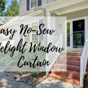 diy, do it yourself, easy, no-sew, sidelight window, curtain, crafty, craft, lifestyle, household, decor, front door, make it yourself, recycle, reuse, effortless, screw eye hooks, sheer curtain, panel, ribbon, cardboard, handy, creative, white curtains, mom blogger, mom blog