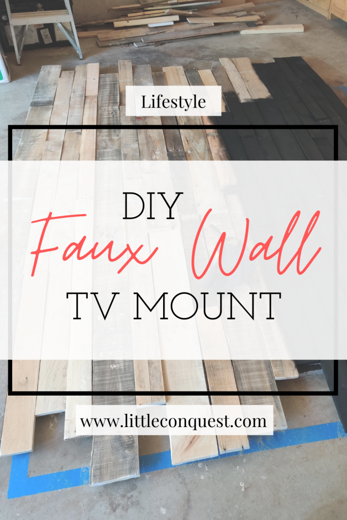 DIY, do it yourself, lifestyle, home, project, quarantine, faux wall, pallet wood, stain, tv mount, decor, art, cool project, crafty, living room, wall decor, new, repurposed wood, fun, family, couples project, fancy, rustic, goth, black tv mount, heavy, sturdy, hanger, 2020 , handy, home depot, tools, things to do, things to make