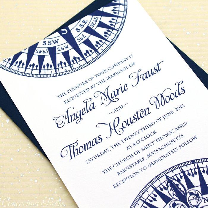 Nautical Themed Wedding Invitations: Concertina Press