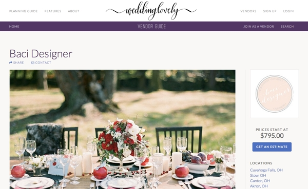 WeddingLovely Vendor Profile Page