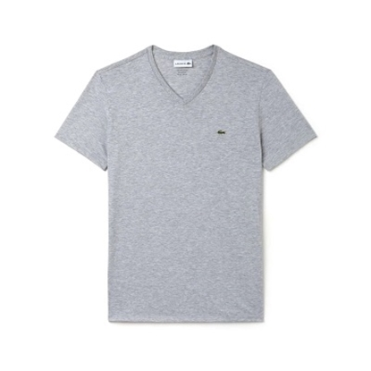 Picture of Lacoste Men's Short Sleeve Jersey V-Neck Grey