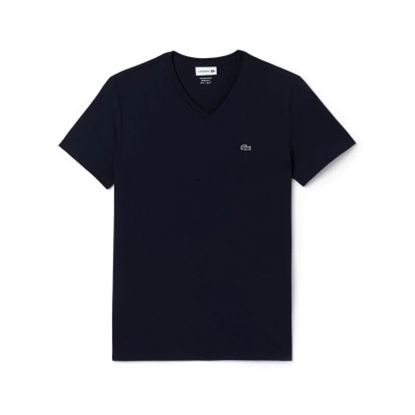 Picture of Lacoste Men's Short Sleeve V-Neck Tee Navy
