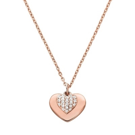 Picture of Michael Kors Kors Love 14k Gold Plated Heart Duo Necklac