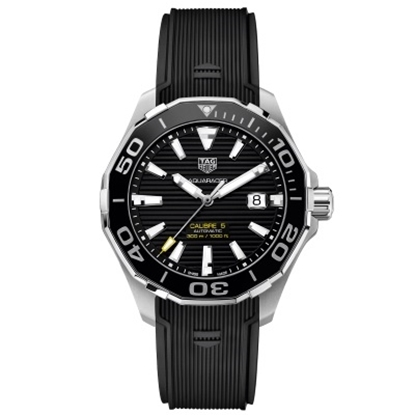 Picture of TAG Heuer Aquaracer Calibre 5 Watch with Black Rubber Strap