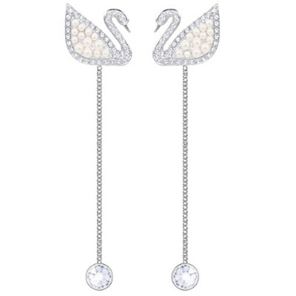 Picture of Swarovski Iconic Swan Micro Pearl Pierced Earrings