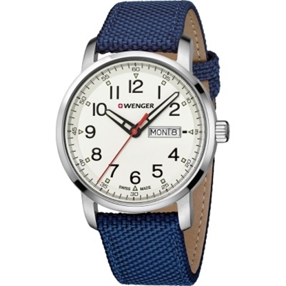 Picture of Wenger Attitude Heritage Watch with White Dial & Blue Strap