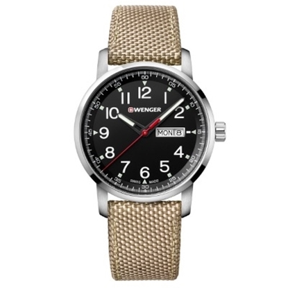 Picture of Wenger Attitude Heritage Watch with Black Dial & Beige Strap