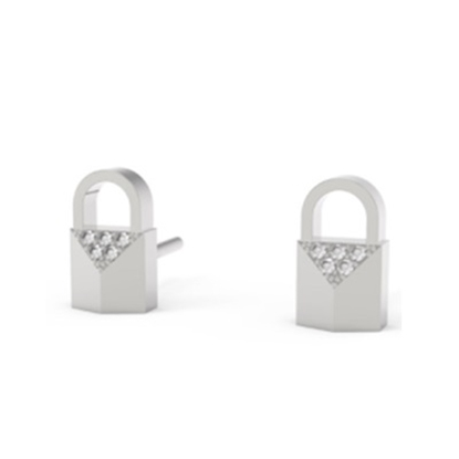 Picture of Michael Kors Mercer Sterling Silver Padlock Earrings