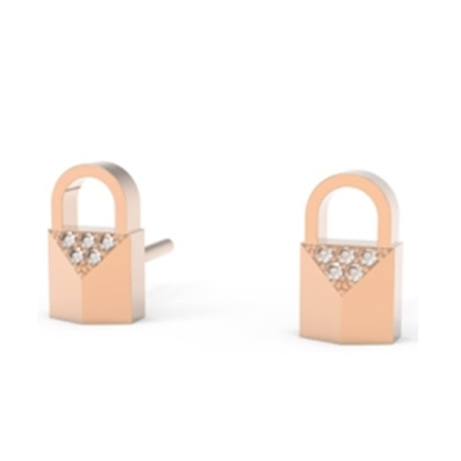 Picture of Michael Kors Mercer 14k Rose Gold Plated Padlock CZ Earrings