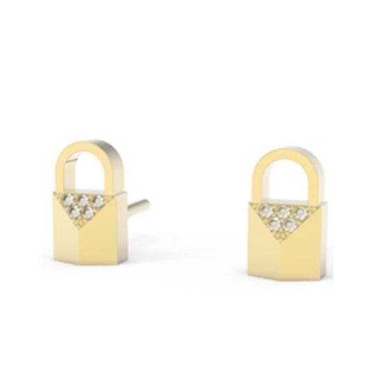 Picture of Michael Kors Mercer 14k Gold Plated Padlock CZ Earrings