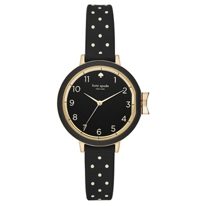 Picture of Kate Spade Park Row Gold-Tone Dot & Black Silicone Watch