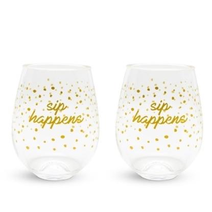 Picture of Vera Bradley Set of 8 Stemless Wineglasses - Sip Happens