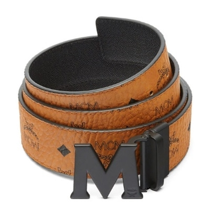 Picture of MCM Claus PVD Matte Leather Belt - Cognac