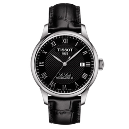 Picture of Tissot Le Locle Powermatic 80 - Black Leather/Black Dial Watch