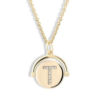 Picture of Lulu DK Initial T Necklace - 14K Gold-Plated Brass