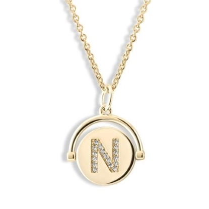 Picture of Lulu DK Initial N Necklace - 14K Gold-Plated Brass