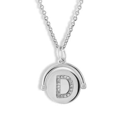 Picture of Lulu DK Initial D Necklace - Rhodium-Plated Brass