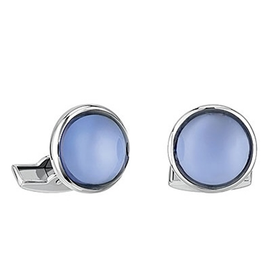 Picture of Lalique Cabochon Cufflinks - Blue Palladium