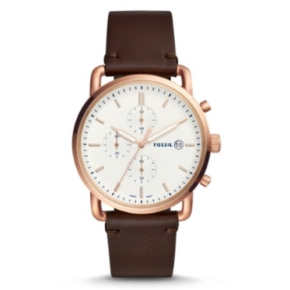Picture of Fossil Men's Commuter Watch with White Dial & Brown Strap