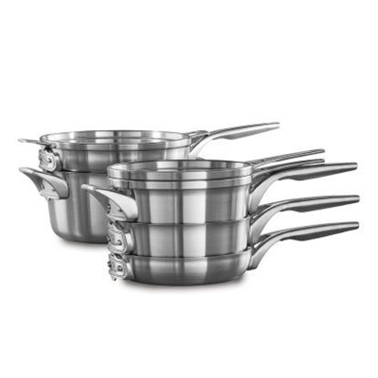 Picture of Calphalon Space Saving Stackable 8PC Stainless Steel Cookware
