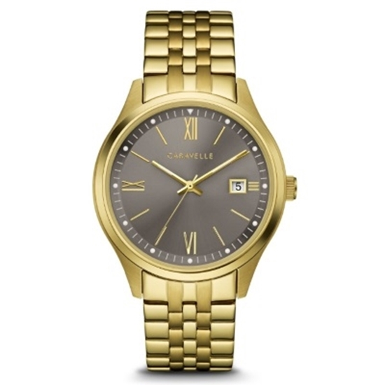 Picture of Bulova Caravelle NY Gold-Tone Watch with Grey Dial