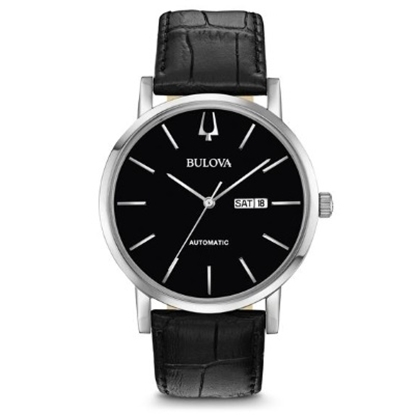 Picture of Bulova Men's Watch with Black Leather Strap & Black Dial