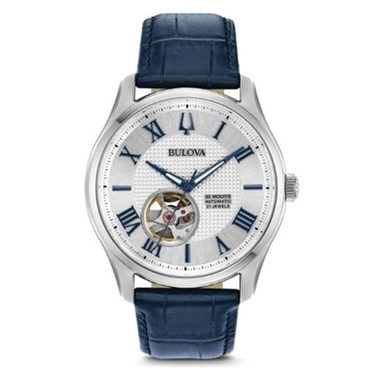 Picture of Bulova Men's Watch with Blue Leather Strap & Skeleton Dial