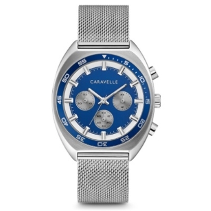 Picture of Bulova Caravelle NY Watch with Blue Dial & Mesh/Rubber Strap