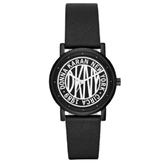 Picture of DKNY Ladies' Soho Black Leather Watch with White Dial