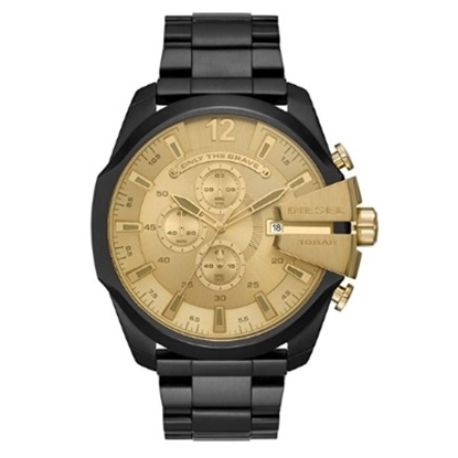 Picture of Diesel Mega Chief Black-Tone Steel Watch with Gold Dial