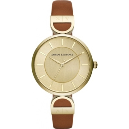 Picture of Armani Exchange Brooke Watch - Gold Dial & Brown Leather Strap
