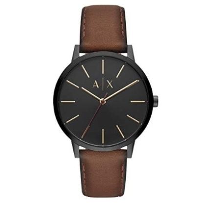 Picture of Armani Exchange Cayde Brown Leather Watch with Black Dial