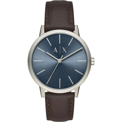 Picture of Armani Exchange Cayde Watch w/ Blue Dial & Brown Leather Strap