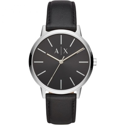 Picture of Armani Exchange Cayde Watch with Black Dial & Leather Strap